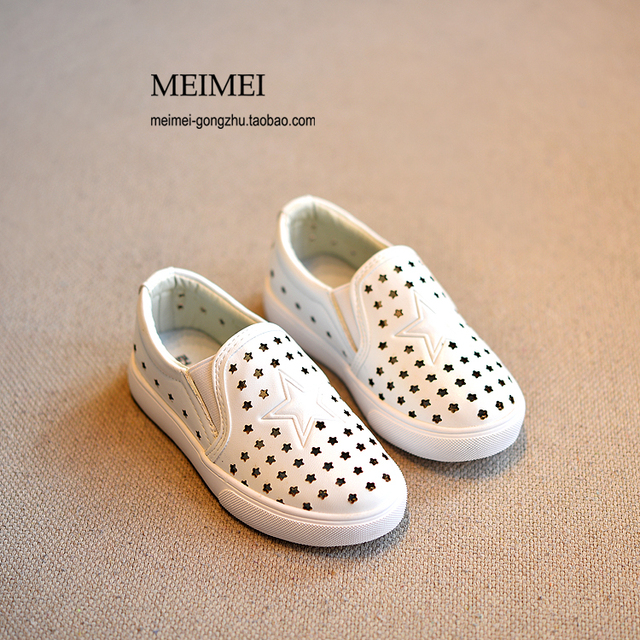 2015 New children Spring Summer Shoes Boys Stars Hollow Lazy Man Leather Wave Shoes Single Kids Breathable 26-30 F217
