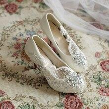 Белый Свадебные Туфли На Высоких Каблуках Туфли На Платформе Обувь невесты Кружева горный хрусталь Обувь ручной работы Женщин Насосы 8 СМ Большой Размер 41-42