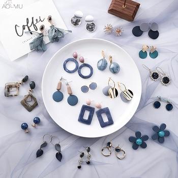 AOMU Korean Summer Blue Geometric Acrylic Irregular Hollow Circle Square Drop Earrings 2