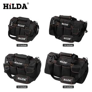 Image 2 - HILDA Tool Bags Waterproof Men canvas tool bag  Electrician Bag Hardware Large Capacity Bag Travel Bags Size 12 14 16 18 Inch