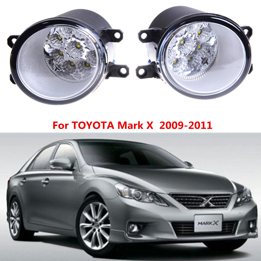 For TOYOTA Mark X  2009-2011  Car styling front bumper LED fog Lights high brightness fog lamps 1set for lexus rx gyl1 ggl15 agl10 450h awd 350 awd 2008 2013 car styling led fog lights high brightness fog lamps 1set