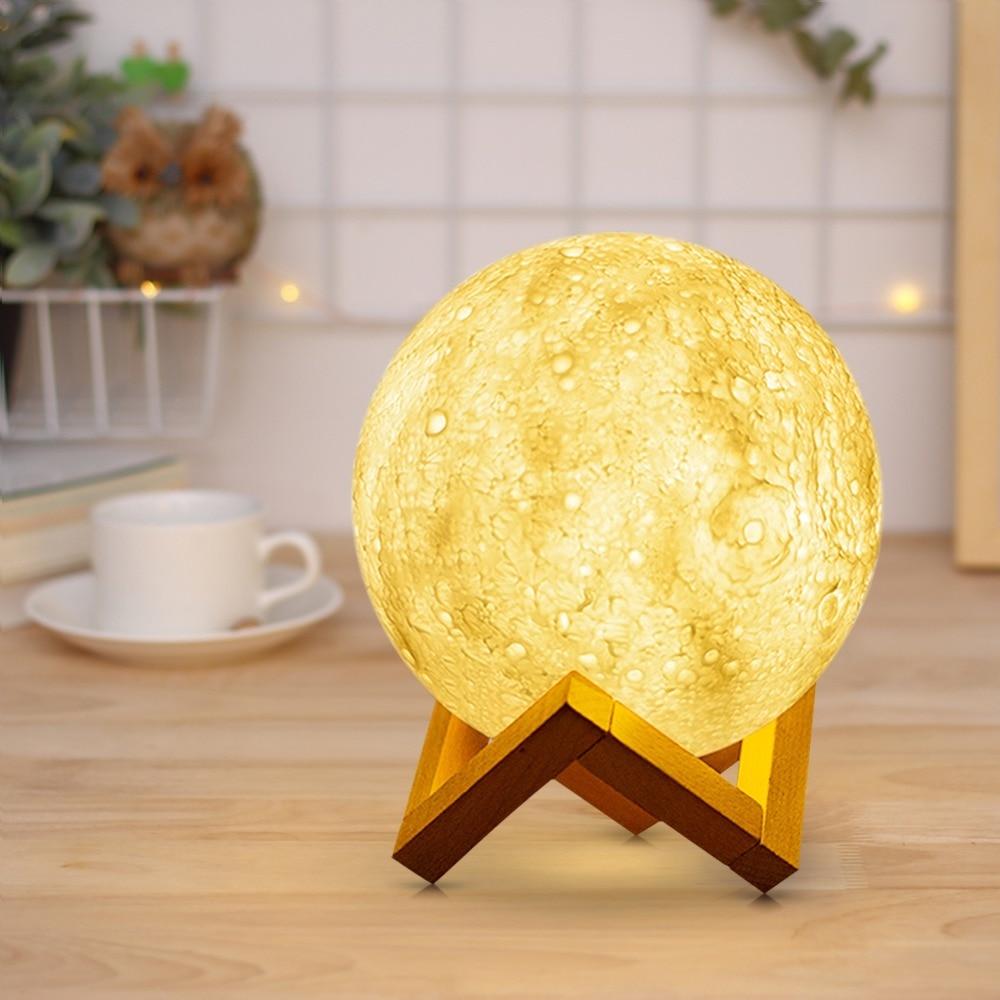 Neuheit Wiederaufladbare 3D Print Mond lampe 2 Farben Touch Schalter Ändern LED Bett Schreibtisch Mond nachtlicht Hause Dekoration Kreative geschenk