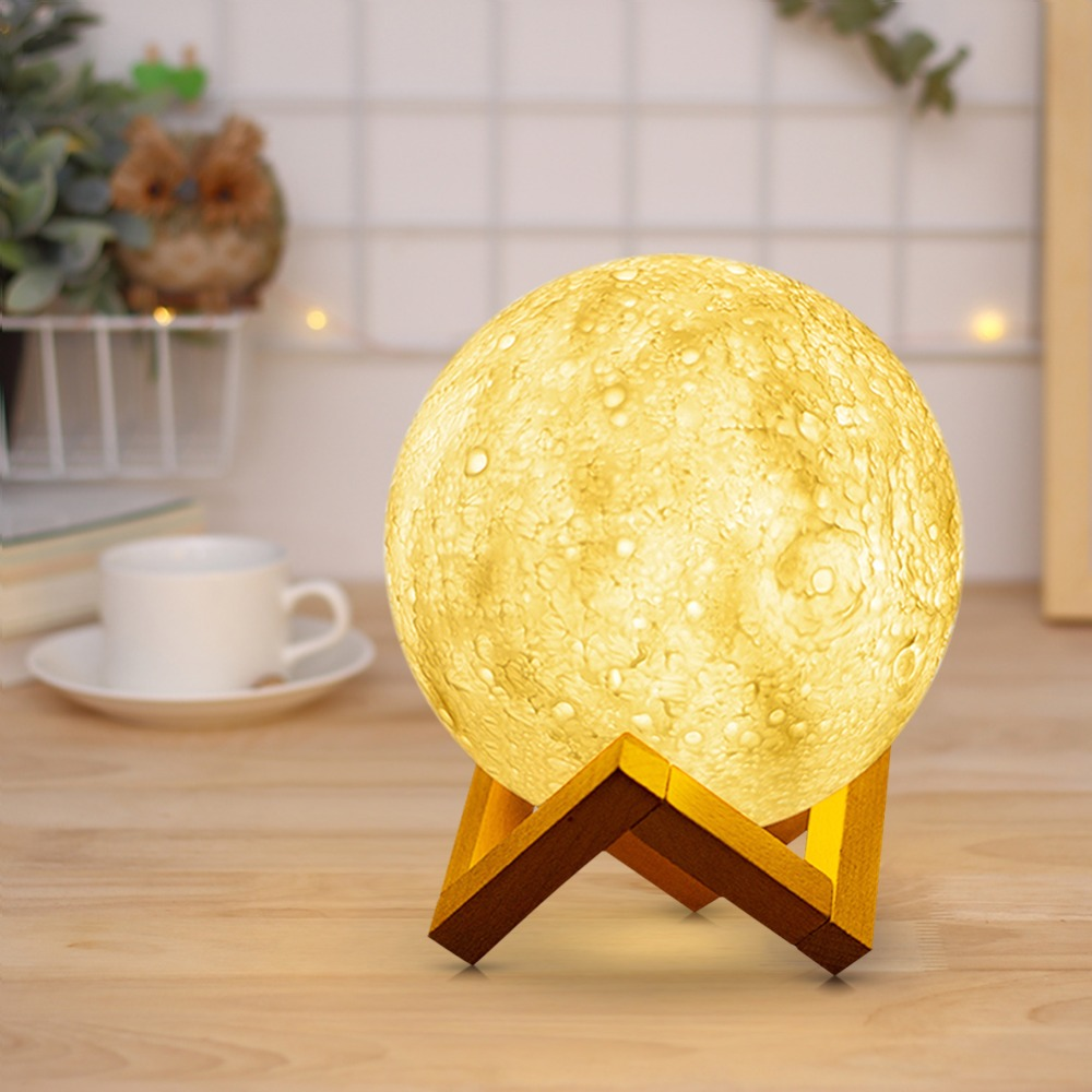 Novelty Rechargeable 3D Print Moon lamp 2 Colors Touch Switch Change LED Bed Desk Moon Night light Home Decoration Creative Gift novelty 3d full moon lamp led night light usb rechargeable color changing desk table light home decor 8 10 12 15 18 20cm