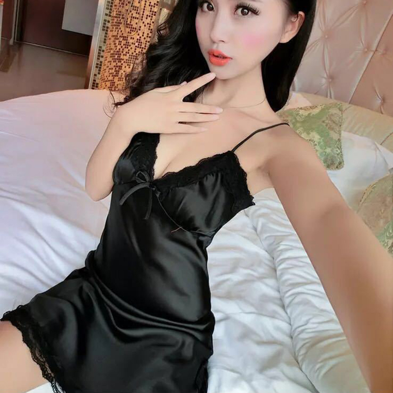 HENGSONG New Arrival Women Sexy Spaghetti Strap Sleeping Dress Women Deep V-Neck Lace Slim Sleepwear KH842100