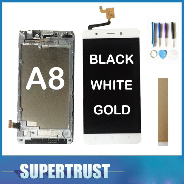 5.0 For Blackview A8 LCD Display Touch Screen Glass Sensor Digitizer With Frame AssemblyWhite Black Gold With tools & tape5.0 For Blackview A8 LCD Display Touch Screen Glass Sensor Digitizer With Frame AssemblyWhite Black Gold With tools & tape