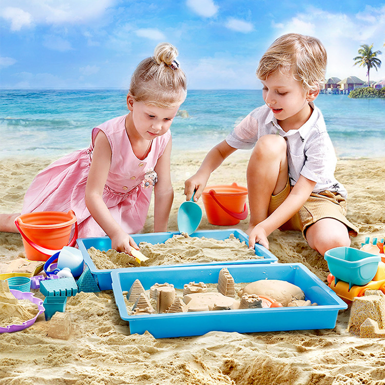 Besegad 14pcs Funny Kids Beach Sand Game Toys Set Shovel Rake Bucket Castle Molds Children Outdoor Beach Playset Role Play Toys