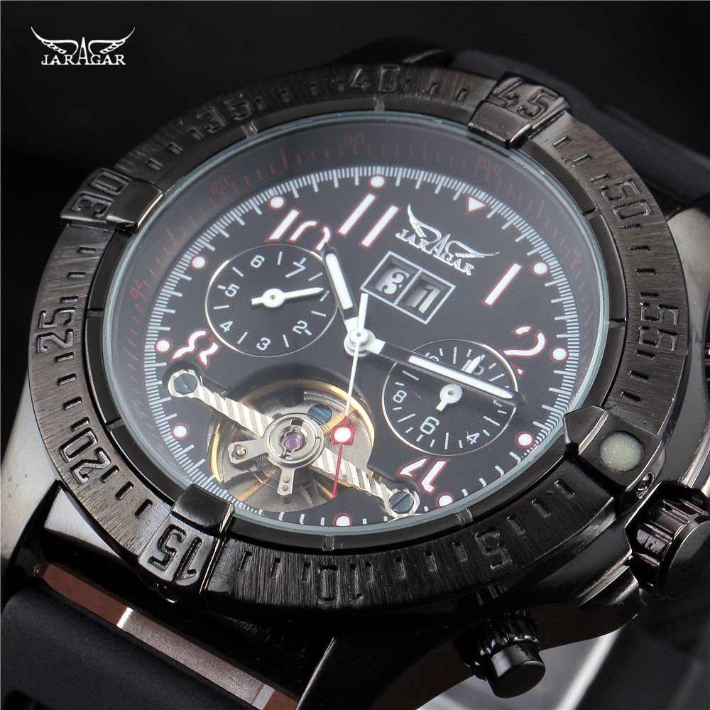 Luxury brand silicone automatic Mechanical Calendar Tourbillon Watches Mens Wrist Watches Jaragar military watch montre homme jaragar full calendar tourbillon auto mechanical mens watches top brand luxury wrist watch erkek kol saati montre homme