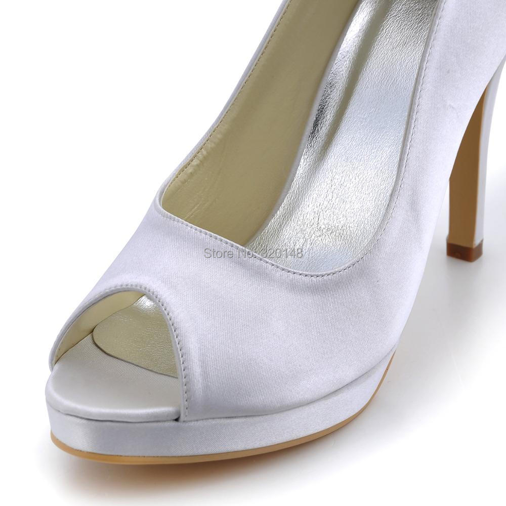 Scarpe donna EP2098 PF Avorio Bianco tacco Alto delle Pompe della piattaforma del Raso della signora Delle Donne Del Partito di Promenade Nuziale Scarpe Da Sposa - 5