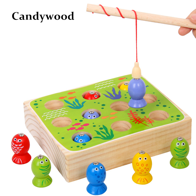 High Quality Wood Fish Game Kids Wooden Toys Magnetic Games Fishing Toy Kids 3D Fish Baby Kids Educational Toys Boys Girl new 14 fishes 2 fishing rods wooden children toys fish magnetic pesca play fishing game tin box kids educational toy boy girl