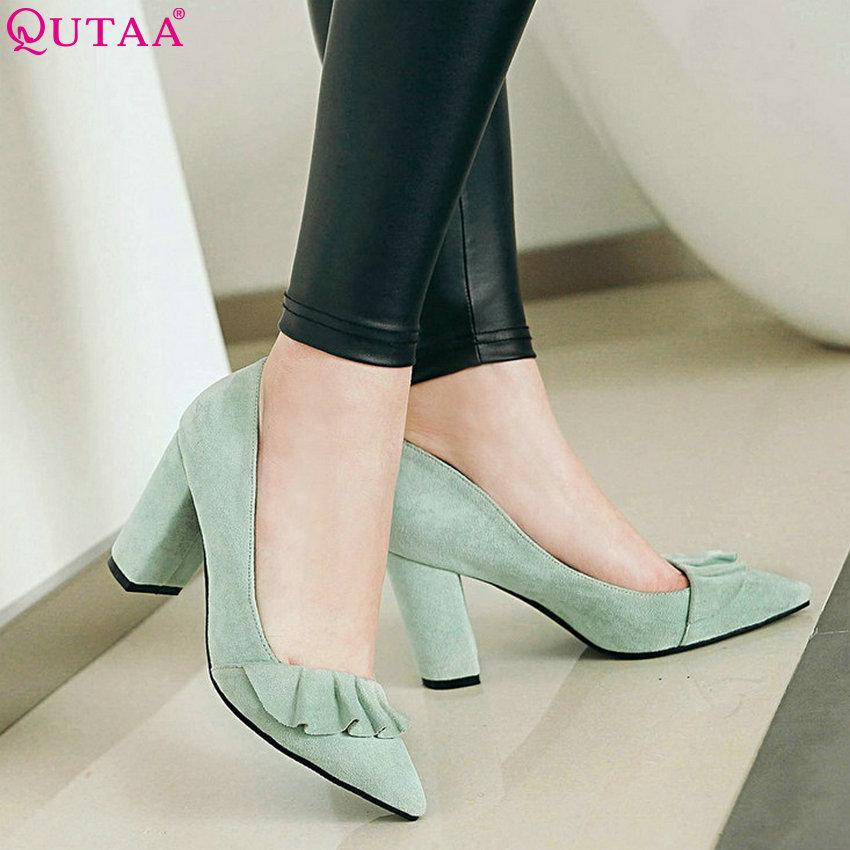 QUTAA 2020 Women Pumps Flock Fashion Women Shoes Platform Square High Heel Pointed Toe Wedding Shoes Ladies Pumps Size 34-43