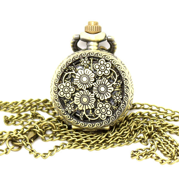 Vintage Bronze Fragrant Sweet Smell Beautiful Cute Nice Flower Bloom Long Chain Necklace Pocket Watch P542
