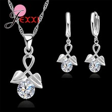 Luxury Elegant 925 Sterling Silver Heart Cubic ia Drop ต่างหูสำหรับ(China)