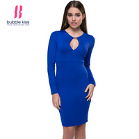 Long Sleeve Bodycon Dress Women Sheath Hollow Out Solid Color Cut Out Sexy Slim Blue Dress Bubblekiss