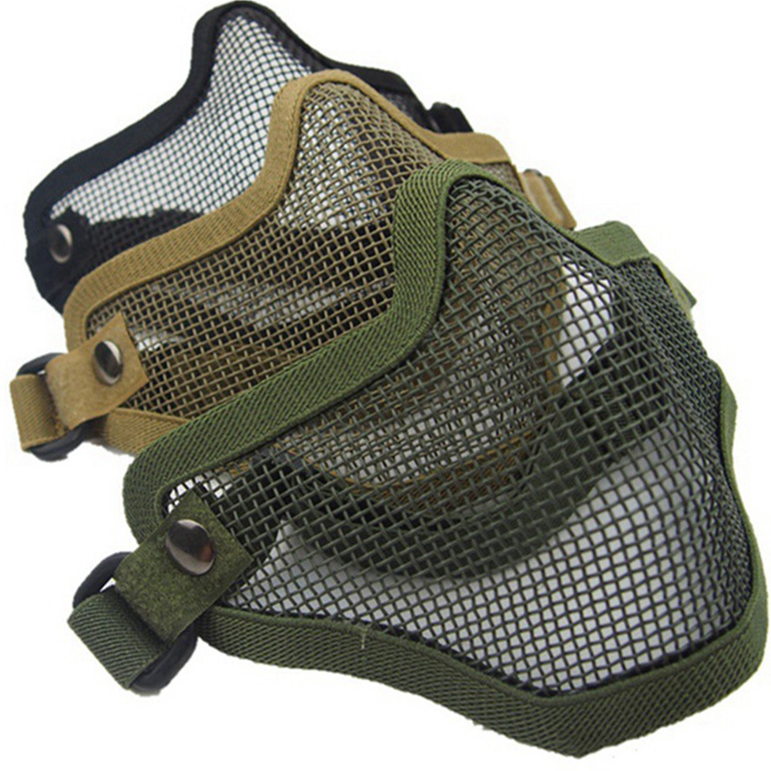 Brand Hot Half Lower Face Metal Steel Net Mesh Hunting Tactical Protective Airsoft Mask For Military Paintball Hunting Airsoft