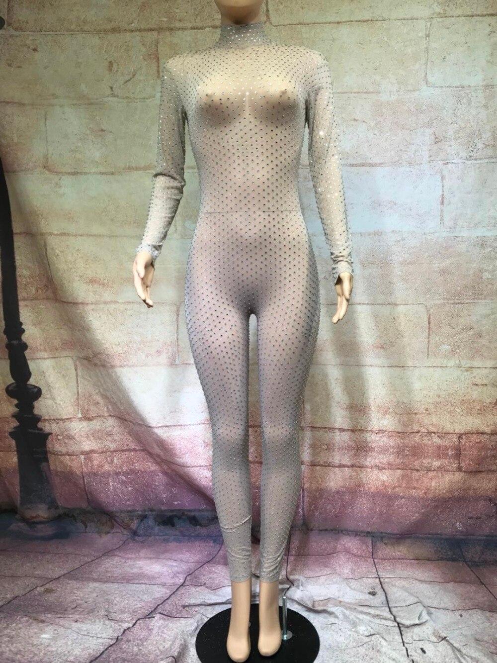 Salopette Jumpsuit D'anniversaire Body Nu Outfit Color Danse Stretch Perspective Strass Pic Sexy Discothèque Plein De Femmes Partie Nouveau Usure Leggings 7IpHnqx