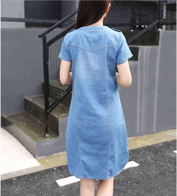 2019 новый летний Стиль Плюс Размер A линия джинсовое платье женское с v-образным вырезом короткий рукав тонкое офисное джинсовое платье vestidos robe