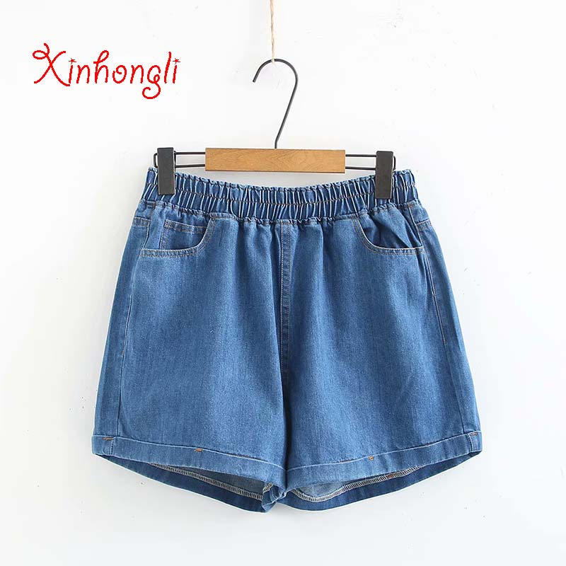 Plus Size High Waist Light Blue & Blue & Black Shorts Skirts Women 2019 Fashion Summer Denim Short Femme 4XL