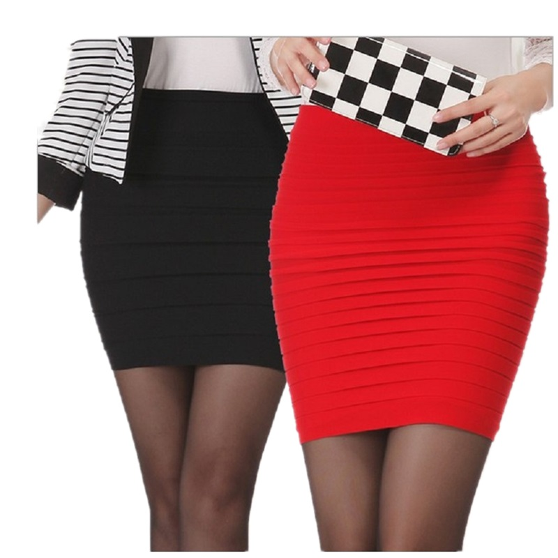 Big Girls Short Skirt 2019 Summer Young Women Skirt High Waist Candy Color Plus Size Elastic Pleated Sexy Short Skirt For Mother