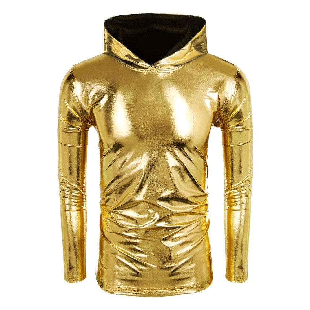 Men 2018 New Long Sleeve Metallic Shiny Tee Shirt Shiny Hooded T Shirt Home Night Club Wear Mens Hoodies Party Wear 3 Colors