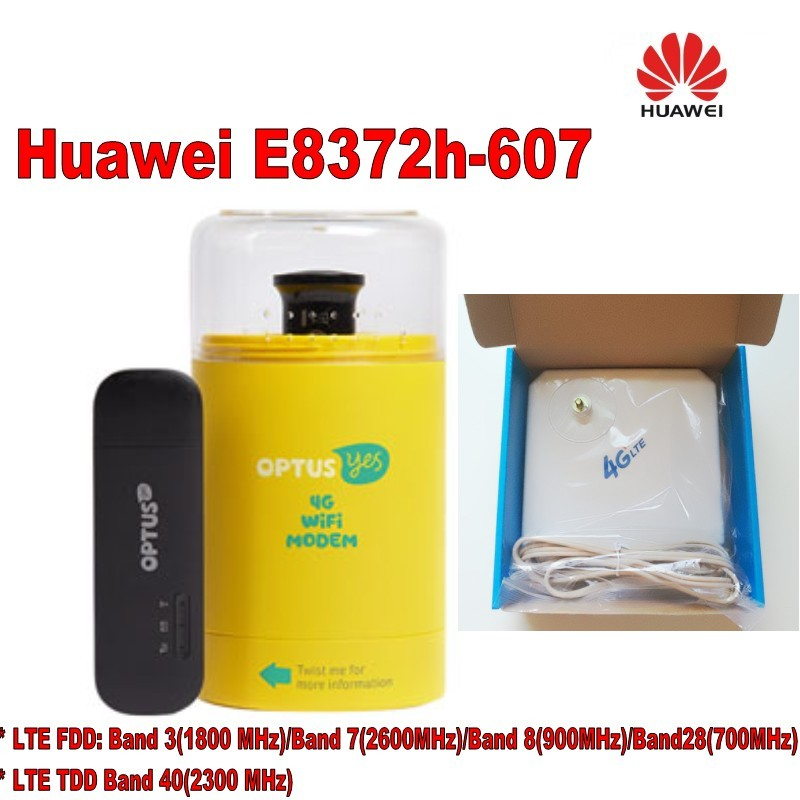 Huawei E8372h-607 LTE WiFi Stick+4G lte antenna 35dBi TS9 For E8372 4G LTE FDD MODEM unlocked 4g lte huawei e5573s 320 mobile wifi modem 35dbi dual ts9 4g antenna