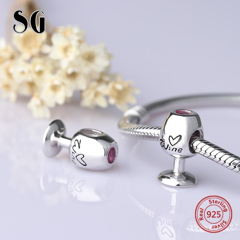 Charms argent 925 diy rouge vin verre perles charms fit pandora pendentif bracelet original de mode fabrication de bijoux pour femmes cadeaux