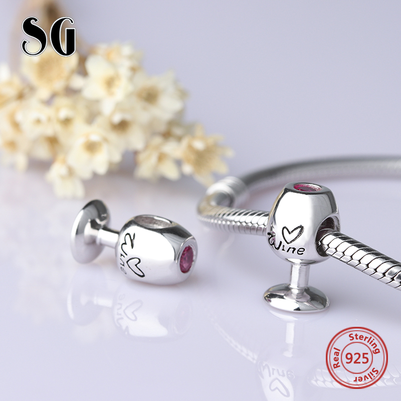 charms silver 925 diy red wine glass beads charms fit pandora pendant bracelet original fashion jewelry making for women gifts wine things wt 1409p grapevine wine charms painted