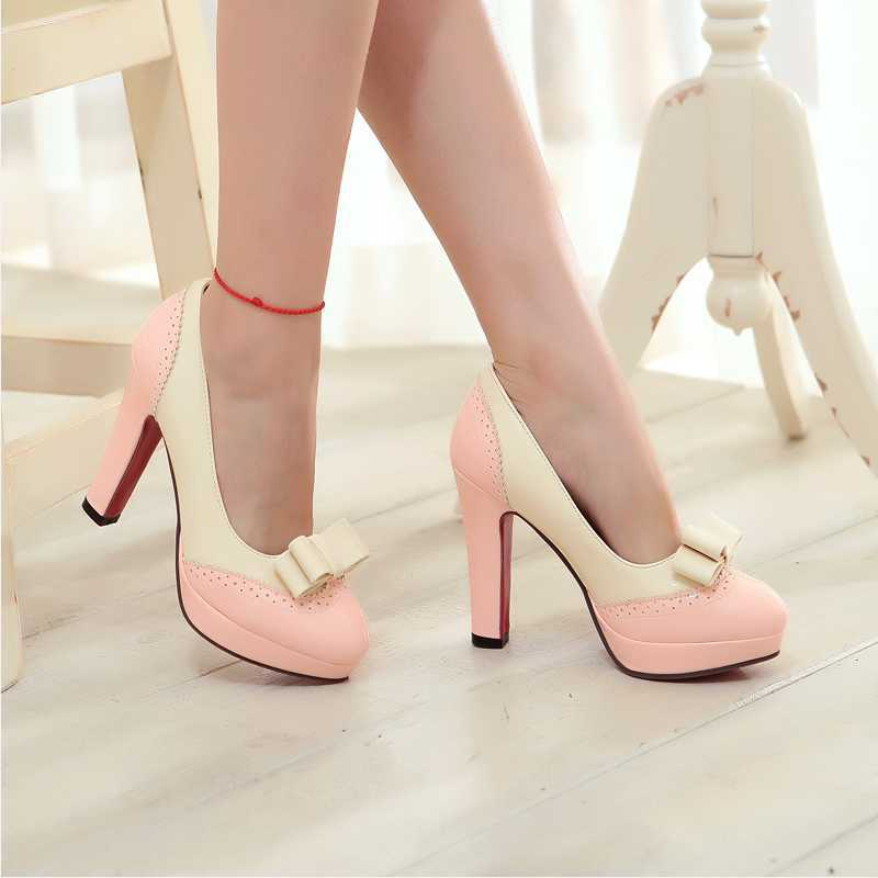 ФОТО Sweet High Thick Heels Shoes Woman Plus Size 34-43 Concise Round Toe Women Pumps With Bowtie Mixed Colors Platform Ladies Pumps
