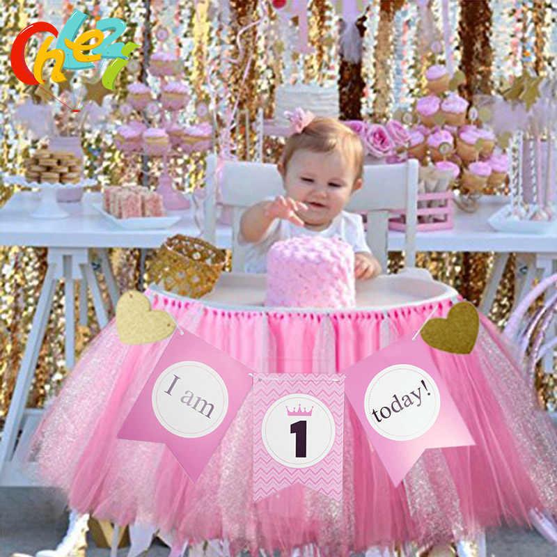 1 Juego de bandera de cumpleaños de 1 año para bebé, 1 Banner de Today para niños y niñas, decoración de fiesta de cumpleaños, silla de comida de bebé, tutú de hilo de red