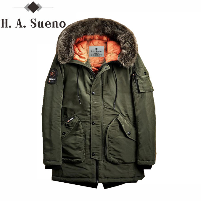 H.A. Sueno 2017 New Men Padded Parka Winter Polyester Coat Thick Parkas With Fur Collar Fashion Coat Mens Winter Coat Male tiger force 2017 new collection men padded parka winter coat mens fashion jacket long thick parkas artificial fur free shipping