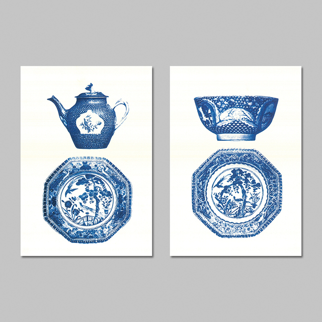chinese style blue and white porcelain decoration wall art pictures