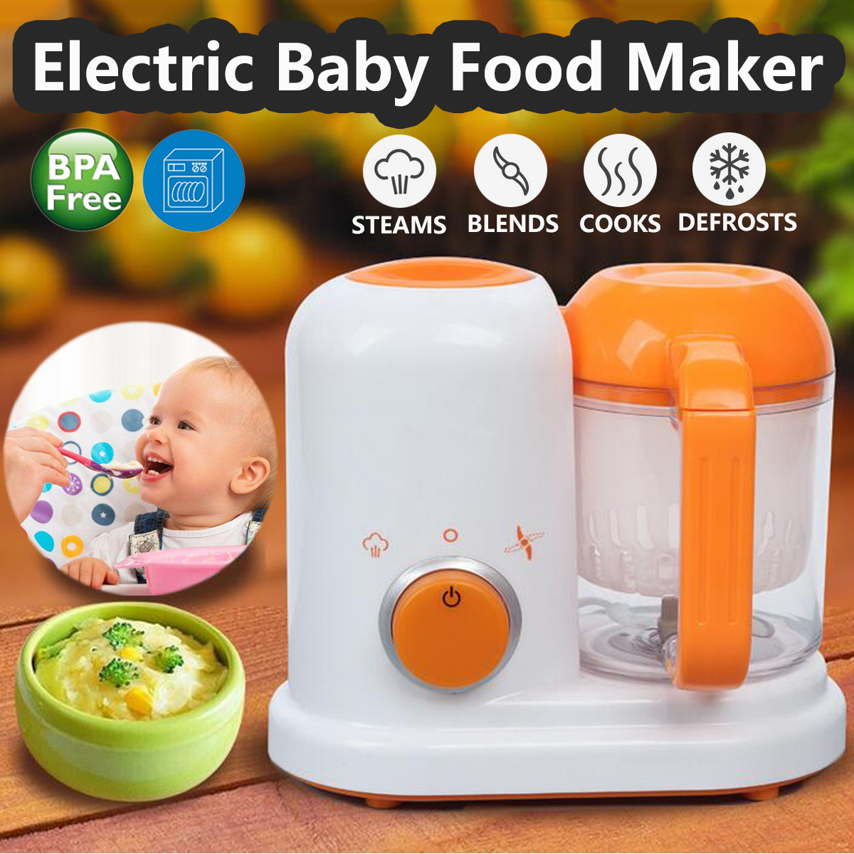 Warmtoo Toddler Blenders Electric Baby Food Maker Steamer Processor BPA Free Food-Graded PP EU AC 200-250V Steam Food Safe