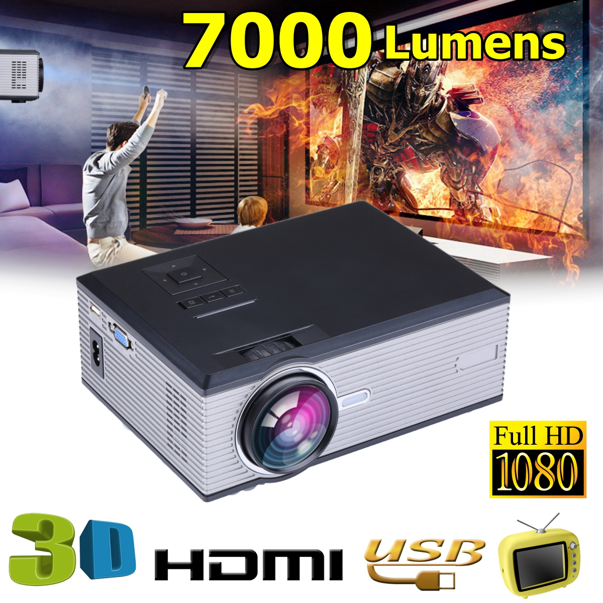 1080P LED Video Projector for Home Theater7000Lumensupport Full HD Mini projector HDMI/USB/SD/AV/VGA HOME CINEMA poner saund dlp100w pocket hd portable dlp projector micro wireless multi screen mini led battery hdmi usb portable home cinema