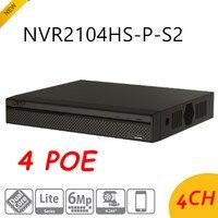 DH оригинальный английская версия NVR 4 Порты PoE 4CH NVR2104HS P S2 до 6Mp запись ONVIF сетевой видеорегистратор H.264 +/H.264
