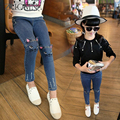 New Spring Winter Kids Jeans Girls Denim Pants For Children Cotton Fleece Trousers Leisure School Fashion Casual Capris GH387