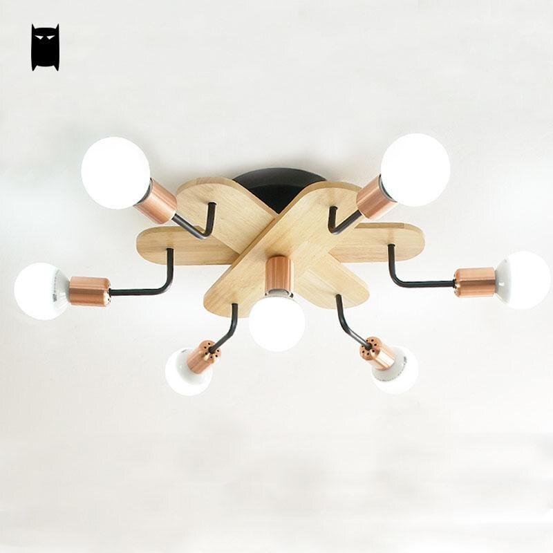 Schwarz Eisen Holz Zweig Spinne Decke Leuchte Moderne Nordic Koreanische Japanischen Kreative Plafon Lampe Schlafzimmer Studie Wohnzimmer