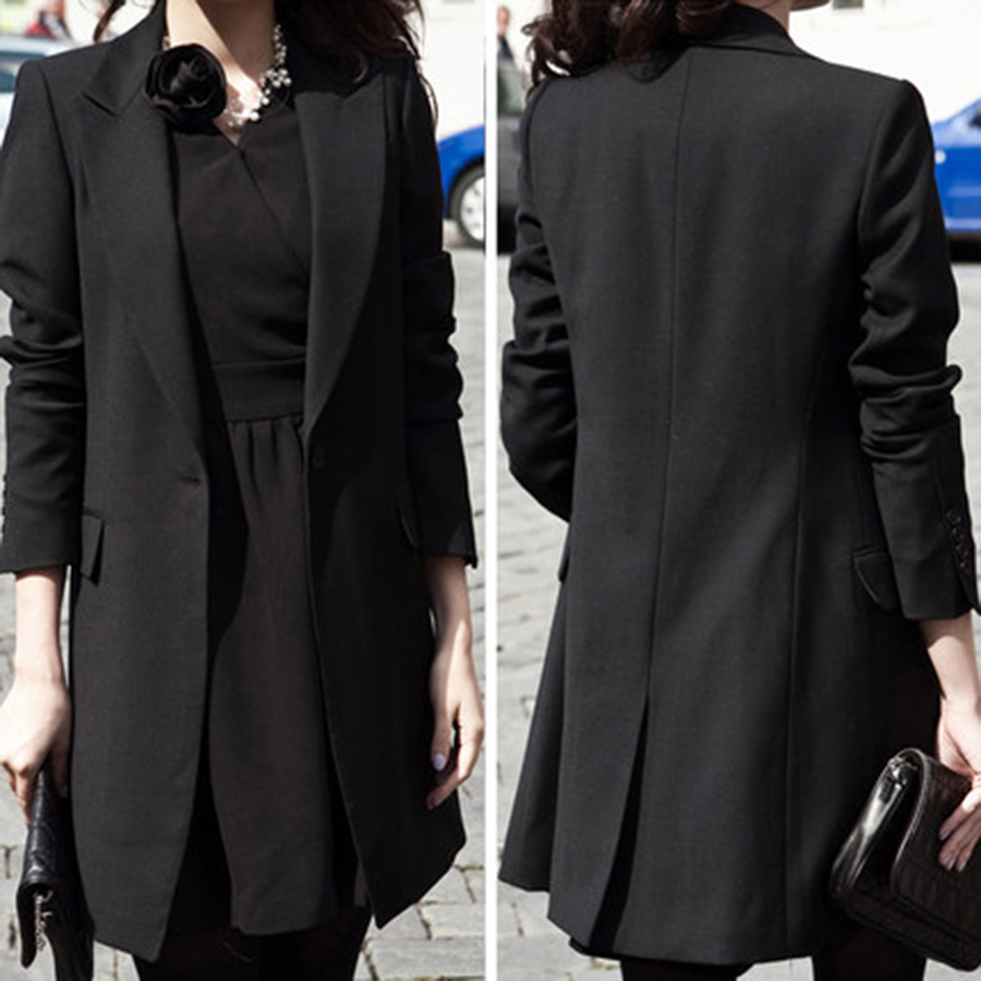 e46349beeba4 Causal Plus Size Women Jacket Blazer Coat Womens Formal Suits Long Blazer  Feminino Manga Longa Korean Long Coat Slim 50N0489-in Blazers from Women s  ...