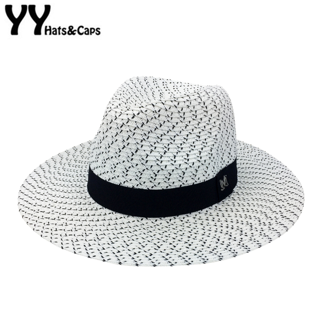 Jerami Panama Topi untuk Pria Musim Panas Wanita Pantai TOPI Pinggiran Lebar  Jazz TOPI Hitam Putih cbc0cb996c