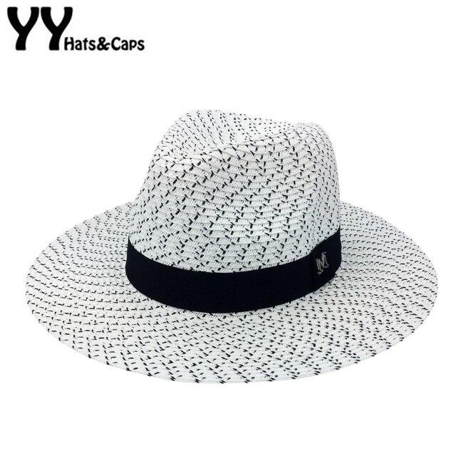 0048359552391 Paja sombreros para hombres verano Playa Mujeres ala ancha sombrero del  jazz negro blanco Sol visera