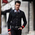 Men  Fashion Casual Patchwork  Plaid long  sleeve  shirt    L   XXL