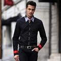 Men  Fashion Casual Patchwork  Plaid long  sleeve  shirt    L   XXL