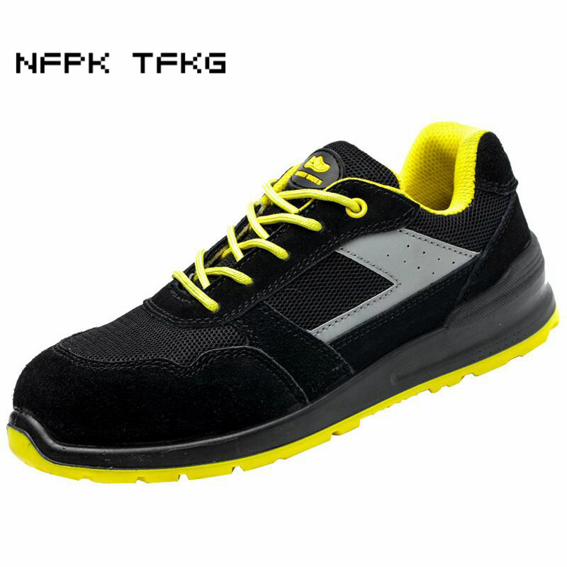 mens construction site worker big size breathable steel toe caps work safety shoes platform anti puncture