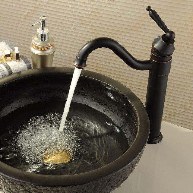 Antike Messing Retro Bad Becken Waschbecken Mischbatterien Deck Montiert  Single Halter Schwenkauslauf Schwarz Wasserhahn