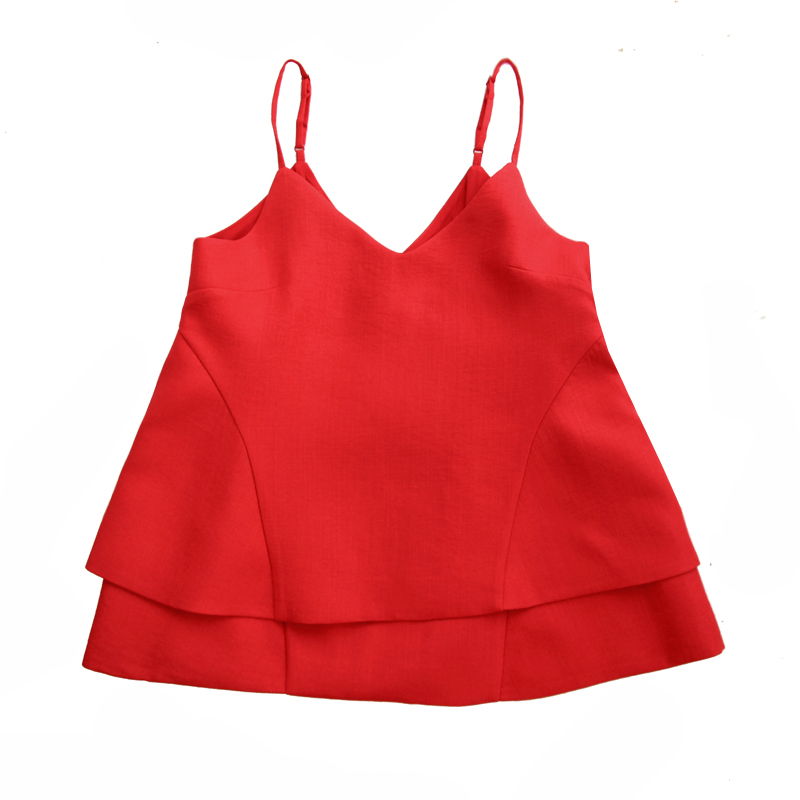 Rouge Tops Camisoles Solide Subtil ligne A Halter Patchwork Buttefly Aussi Ourlet Laminé Pqx5FaSnw