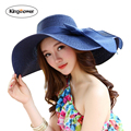 2016 Summer Women's Girls Sun Hats Panama Straw Hat Female Solid Colors Beach Hat JA9006
