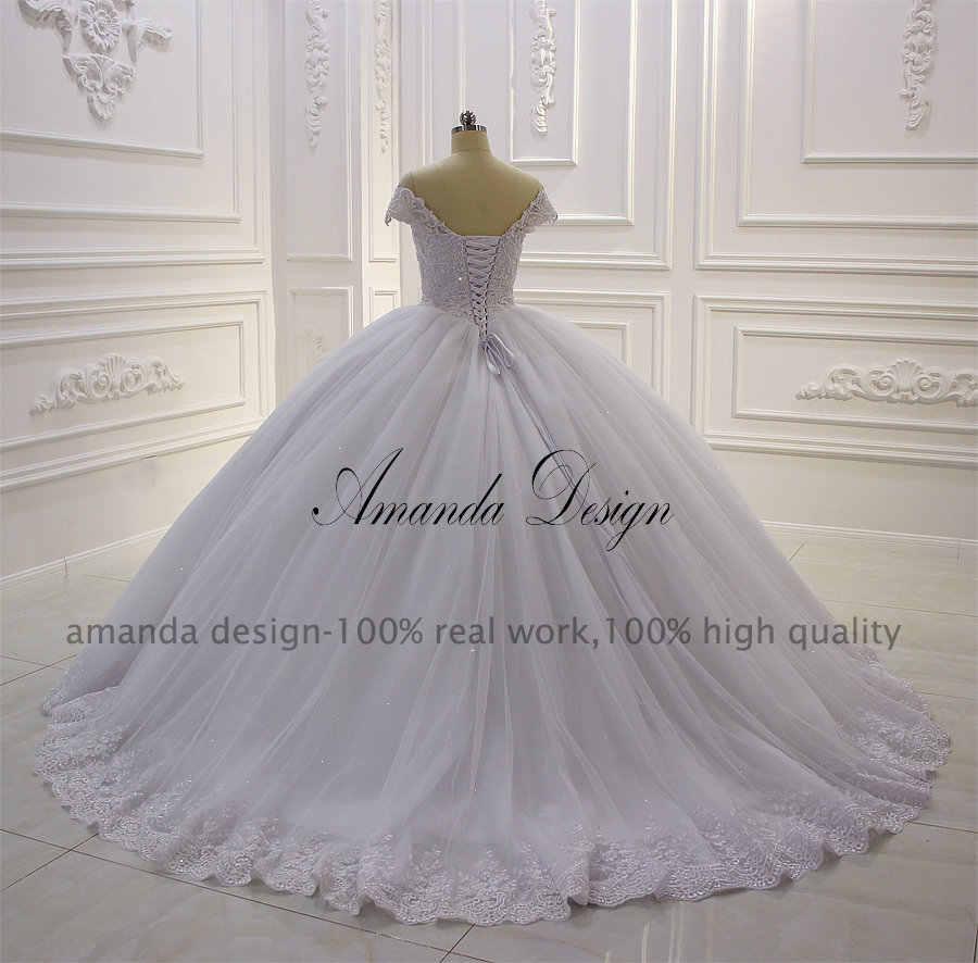 Amanda Design hochzeitskleid Off Shoulder Lace Appliqued Ball Gown Wedding  Dress