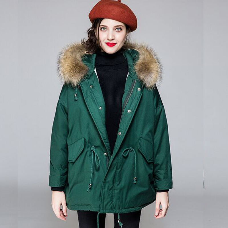 Real Natural Raccoon Fur 2018 New Fashion Woman Winter   Coat   Jacket White Duck   Down   Jacket Thick Parkas Plus Size Female Jacket
