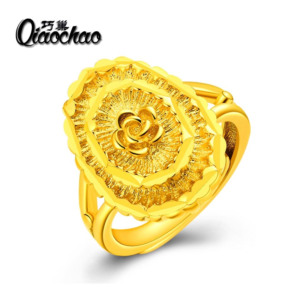 bd330292a542 Joyería de Los Anillos de Boda para las mujeres de Oro a cielo abierto de  color anillos de Cristal femenina anel bijoux calidad superior R231