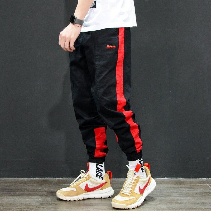 d68d5462 American Street Casual Fashion Men's Jeans Jogger Pants Ribbon Spliced  Loose Fit Cargo Pants Men Punk Style Hip Hop Jeans Homme