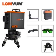 LOMVUM  3D Laser Level Black 12 Lines Vertical Horizontal Green Laser  360 degree Rotary Wall Support Tripod Available
