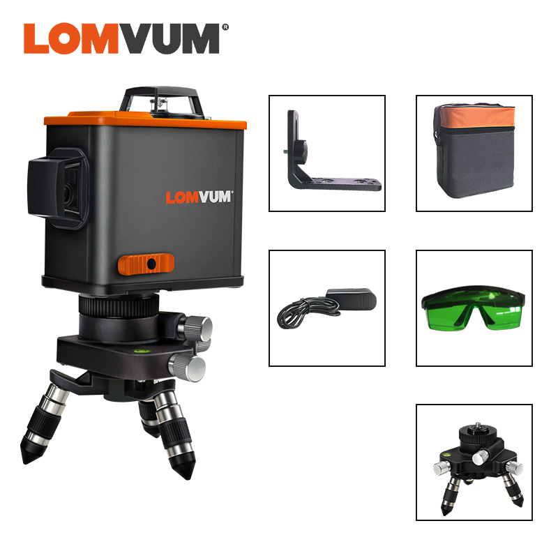 LOMVUM <font><b>3D</b></font> <font><b>Laser</b></font> <font><b>Level</b></font> Black <font><b>12</b></font> <font><b>Lines</b></font> Vertical Horizontal Green <font><b>Laser</b></font> 360 degree Rotary Wall Support Tripod Available image